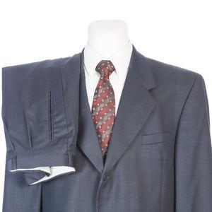 Andrew Fezza Navy Blue Glen Plaid Wool Suit 48R